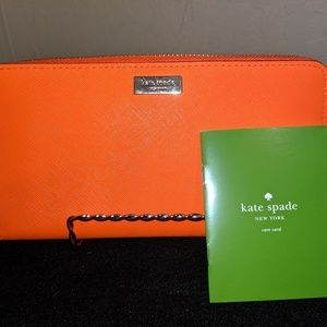 Kate Spade Tangerine Leather Wallet Clutch NWT